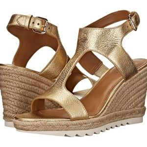 NEW Coach Gold Leather Espadrille Wedge Sandals
